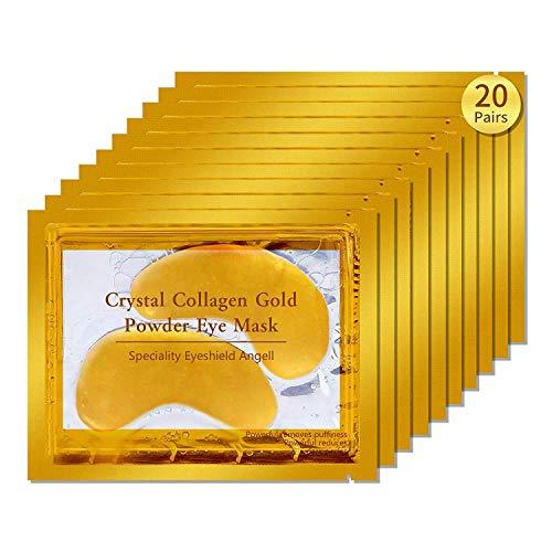 20 pares de Crystal Collagen 24k Gold Under Eye Gel Pad mascarilla arrugas Anti Envejecimiento Arrugas Premium Crystal Gold EYE Máscara Hidratante Crystal Bi para las arrugas debajo del ojo,