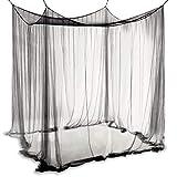 COSTWAY Moskitonetz für Doppelbett, Mückennetz aus Polyester, Bett Fliegennetz, Betthimmel inkl. Haken, Bettdekoration 220 x 200 x 210 cm (Schwarz)