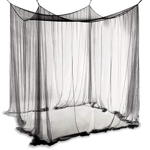 COSTWAY Betthimmel aus Polyester, Moskitonetz Schwarz, Mückennetz inkl. Haken, Baldachin für Doppelbett, Bettdekoration hängend 220x200x210cm