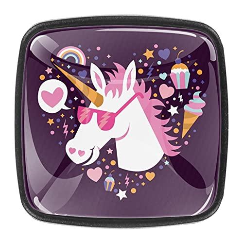 Cool - Gafas de sol para mujer, diseño de unicornios, corazón, helado de cristal, pomos para gabinetes de cocina, tiradores de cajones de 1,18 pulgadas (4 piezas)