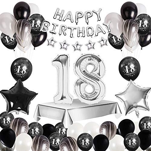 MMTX 18.Geburtstagsdeko Mädchen Männer, Happy Birthday Luftballons Girlande Banner Geburtstag Deko Luftballons Zahl 18 Luftballons Sterne Folienballon Tischdecke Druck Latex Achatballon Luftballons