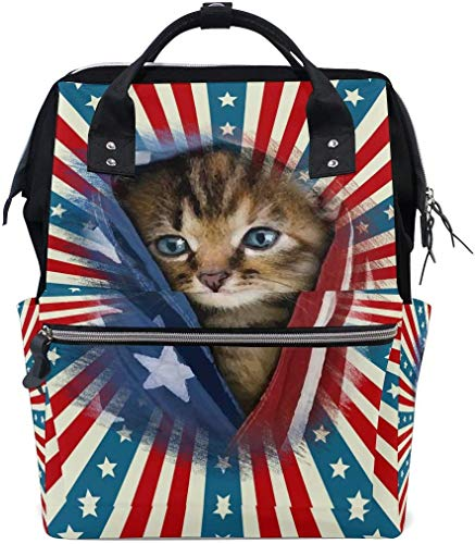 American Patriotic Kitty Sac à langer Grand sac à langer de voyage pour allaitement sac à dos maman