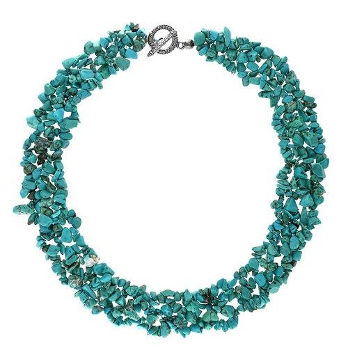 Bling Jewelry Stabilisiert Türkis Edelstein Chunky Cluster Bib Chips Erklärung Strand Erklärung Halsketten Silber Vergoldet Verschluss