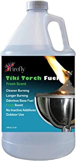 Firefly Fresh Eucalyptus Scent Tiki Torch Fuel - Significantly Longer Burn - Odorless - Less Smoke - Gold S...