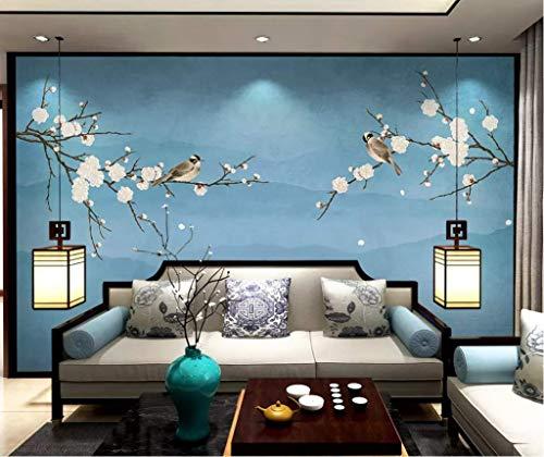 HONGYUANZHANG Blaue Mode Vögel Und Blumen Benutzerdefinierte 3D Fototapete Künstlerische Landschaft Tv Hintergrundbild,140Inch (H) X 172Inch (W)
