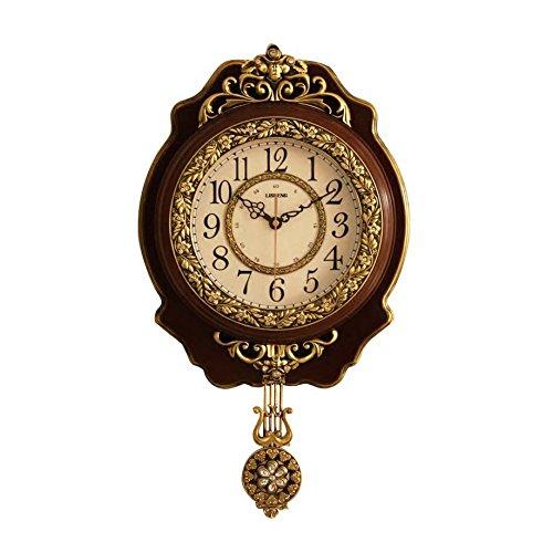 MEILING Européenne Classique Salon Horloge Murale Silencieux Salon En Bois En Bois Mouvement Original Horloge Avec Pendule Marron Alphabet 18 Pouces