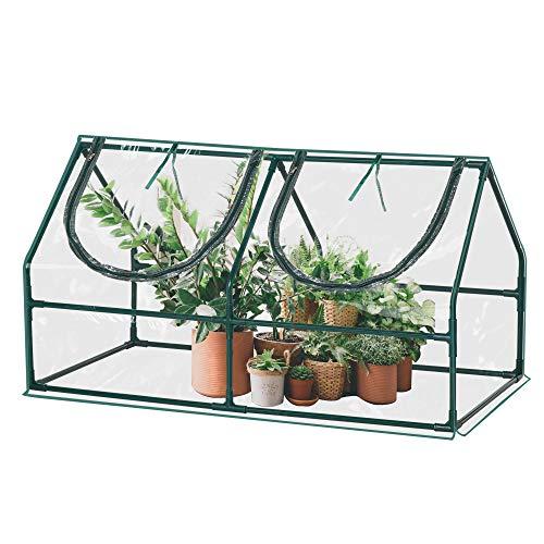 Outsunny Gewächshaus mit Fenster PVC Treibhaus Tomatenhaus Frühbeet 120x60x60cm Grün