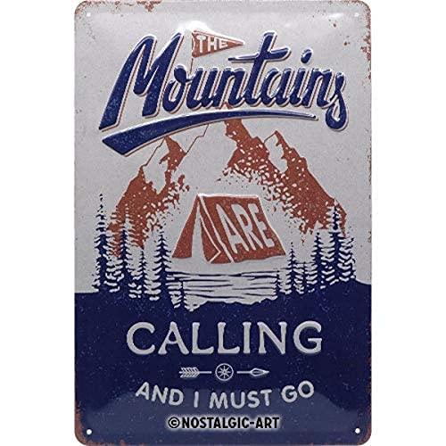 Nostalgic-Art Retro Blechschild Outdoor & Activities – Mountains Calling – Geschenk-Idee für Wander-Fans, aus Metall, Vintage-Dekoration, 20 x 30 cm