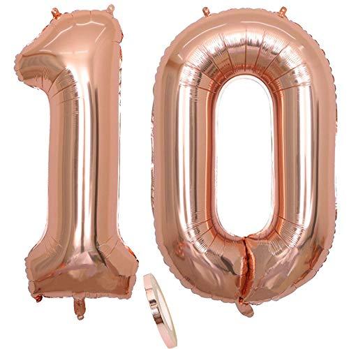 """2 Globos Número 10 Años, Number 10 Globo Chica de oro rosa, 40""""Figuras de globos con globo de lámina de helio inflable, Globo gigante para la decoración de la fiesta de cumpleaños, Prom (xxxl 100cm)"""