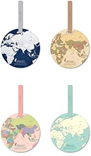 WISTOM 4pcs World Map Luggage Tags Suitcase Luggage Tags Travel Accessories Baggage Name Tags