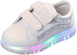 Sceoyche Kids LED Light Shoes, Baby Luminous Velcro Sport Shoes Breathable Outdoor Shoes Non-slip Walking Shoes Soft Infant Sneakers Running Shoes for Boys Girls