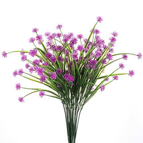 TYEERDEC Artificial Flowers 4 Bundles Outdoor UV Resistant Fake Plants Farmhouse Flowers Decor Indoor Outside Hanging Planter Home Garden Décor - Magenta