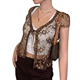 Women Sexy See Through Y2K Mesh Cardigan T-Shirt Ladies Girls Long Sleeve Button Down Lace E-Girl Crop Top (Brown 2, S)