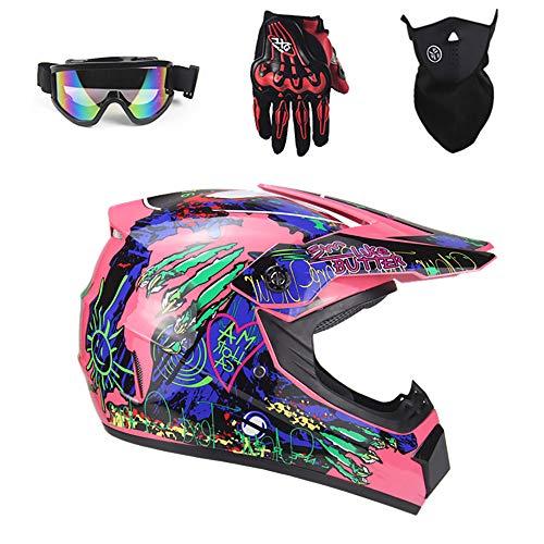 Tadyy Adult Motocross Helmet,Youth DOT Approved Girls Street Dirt Bike Motorcycle BMX MX ATV MTB Off Road Full Face Motorbike Racing Helmet for Men Women,Pink,L