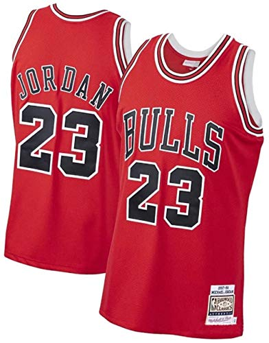 Jordan_Bull_23# Men Basketball Jersey,Unisex Retro Sleeveless Embroidered Basketball Top, Gym Sports Vest Sweat Wicking Quick Drying (Red, 2XL)
