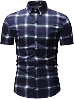 Qiyun Autumn Shirt Male Plaid Printed Leisure Shirt of Short Sleeves and Turn-Down Top Cardigan Slim Costume