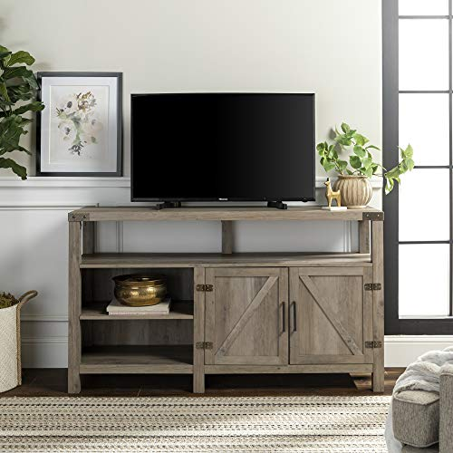 """Walker Edison Furniture Company Farmhouse Barn Wood Tall Universal Stand for TV's up to 64"""" Flat Screen Living Room Storage Cabinet Doors and Shelves Entertainment Center, 58 Inch, Grey Wash"""