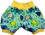 Kurze Babyhose Pumphose Shorts Bunte Elefanten Mint, gelbes Bündchen (62)