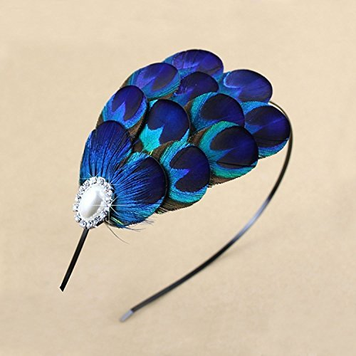 Graceful Handmade Blue Feather Peacock Headnabd, Fascinator Headpiece.