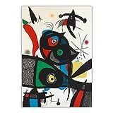 cuadros famoso de Joan Miro 'Oda a Joan Miró: placa 3' Impresión en lienzo, arte de pared en lienzo para sala de estar Imagen de decoración del hogar 80x120cm sin marco