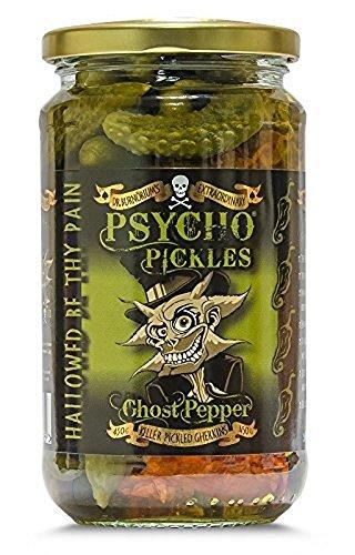 Psycho Pickles - Gherkins - Cetriolini Sottaceto Al Peperoncino Ghost Pepper - 450g