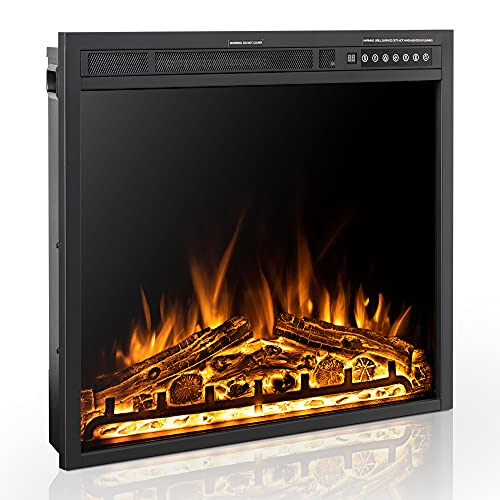 Xbeauty 30 Inch Electric Fireplace Insert, Infrared Electric Fireplace, Three 3D Color with Log and Flame, Indoor Heater with Timer&Remot Control, Adjustable Flame Speed, Touch Screen, 750W 1500W