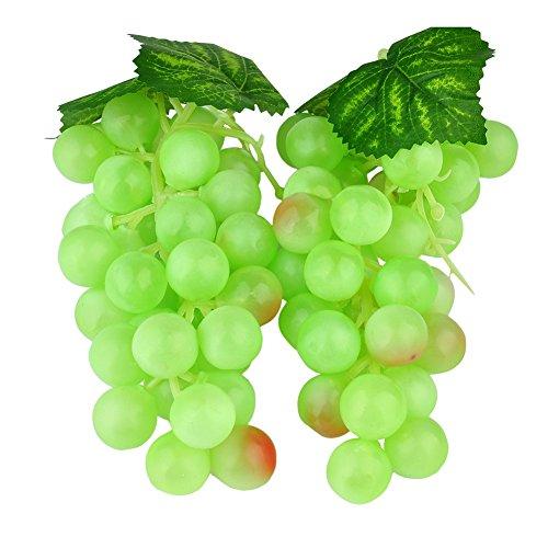 zhangming@ 2pc Deko Kunststoff Weintrauben Wein Trauben Kunstobst Plastikobst Künstliches Obst Gemüse Dekoration 2 Mal 17cm (Grün)