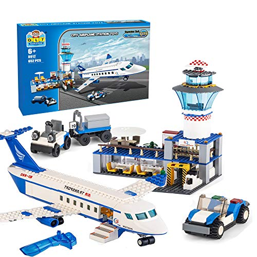 City Airplane Station Building Kits Toys,STEM Building Sets for Kids, with Helicopter / Airport / Passenger / Lorry Truck / Car, Best Gift for 6-12 Boys and Girls(652 Pieces)