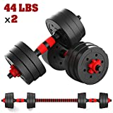 Dumbbell Weight Set – 2Pcs 44Lbs Home Weights Set – Includes Connecting Rod – Barbells Weights...