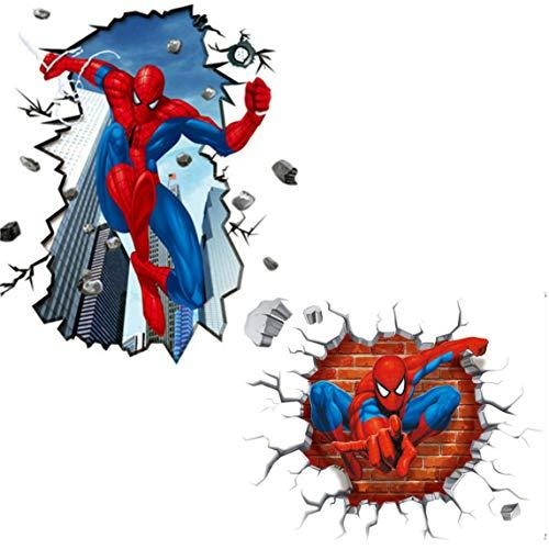 Kibi 2PCS Spiderman 3D Adesivo Muro Spiderman Adesivo da Parete Spiderman Adesivi Murali Spiderman Stickers Muro Spiderman Stickers Muro Uomo Ragno
