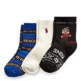 Polo Kids Socks for Boys 3-Pack Crew Dress Sock with Polo Design 2-12 Years (Black Bear/Blue/Off-White, 4-10 Shoe/ 9-11 Sock (Kids/Boys/Girls))