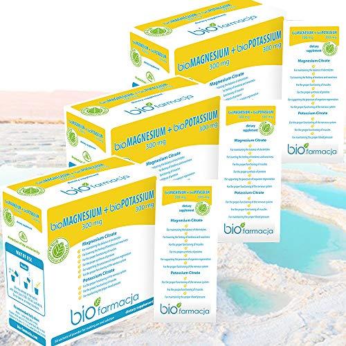 Citrato de magnesio natural + citrato de potasio del mar muerto   Magnesio en polvo 300 mg + Potasio en polvo 300 mg   Sin OGM y Suplemento Dietético 100% Vegano - 30 sobres   Pack of 3