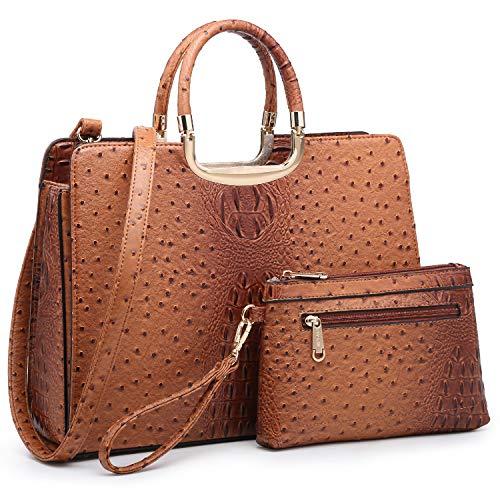 Women's Fashion Handbag Shoulder Bag Hinged Top Handle Tote Satchel Purse Work Bag with Matching Wallet (6-ostrich Brown Cosmetic Bag Set)