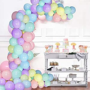 Pastel Birthday decorations Pastel Balloons Garland Arch Kit Assorted Macaron Candy Pastel Party Latex Balloons for Wedding Party Baby Shower Christmas Party Supplies