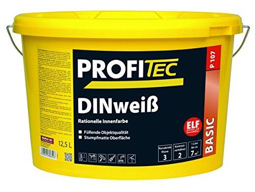 ProfiTec P107 DIN-weiß Profi Wandfarbe Innenfarbe matt, 12.5 Liter
