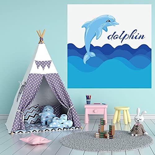 by Unbranded Pegatinas de pared Acuarela azul Jumping Dolphin Ilustración Pegatina Vinilo Coche Pegatina   Adhesivo de pared Arte Murales Decoración Fresca 35.5 pulgadas de ancho