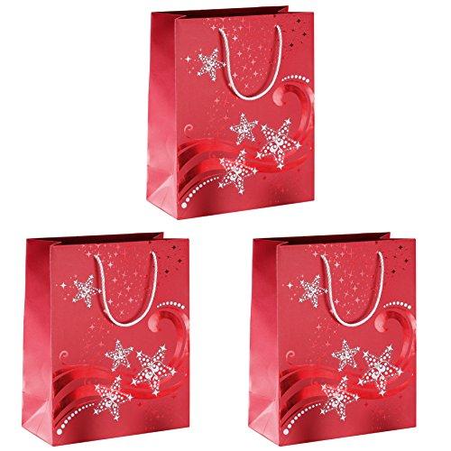 SIGEL GT107 große Premium Papier-Geschenktüten 33 x 26 cm, 3er Set, mit Rot- und Weißprägung, für Weihnachten - weitere Größen