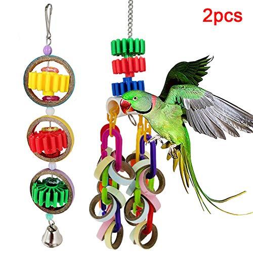 Dyyicun12 huisdier vogel papegaai papieren ringen bel blokken opknoping kooi zwaaien spelen kauwspeelgoed 2 Stks, 2pcs, Multi kleuren