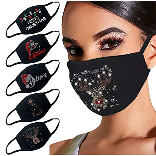 5PCS Adult Women Merry Christmas Face Covering Rhinestone Bling Shiny Print Design Mask Washable Reusable for Costume Xmas Party Protective (G)