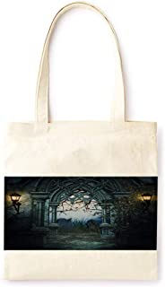 Cotton Canvas Tote Bag Modern Ancient Castle Vintage Style Warm Party Halloween Printed Casual Large Shopping Bag for School Picnic Travel Groceries Books Handbag Design