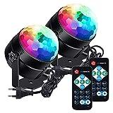 Luces de fiesta LUNSY activadas por sonido con control remoto Dj Lighting RGB Disco Ball Light, lámpara estroboscópica 7 modos Stage Par Light para Home Room Dance Parti