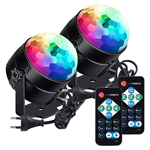 Luces de fiesta LUNSY activadas por sonido con control remoto Dj Lighting RGB Disco Ball Light, lámpara estroboscópica 7 modos Stage Par Light para Home Room Dance Parti
