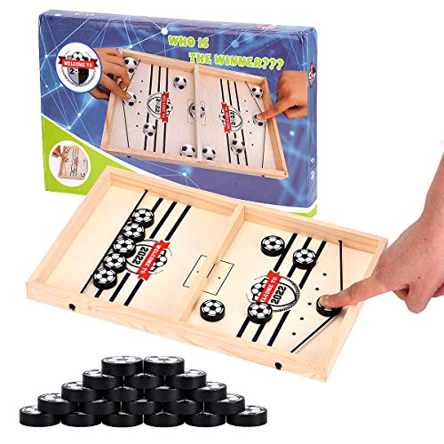 Swiftrans 2022 World Cup Style Fast Sling Puck Game, Table Desktop Battle Ice Wooden Hockey Game/Foosball Winner Board Games, Tabletop Slingshot Games Toys for Adults and Kids, Slingpuck Board Game