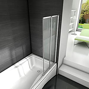 Mamparas de Bañera Biombo Plegable Cristal 4mm Gris Mate - 2 cristale plegable 90x140cm