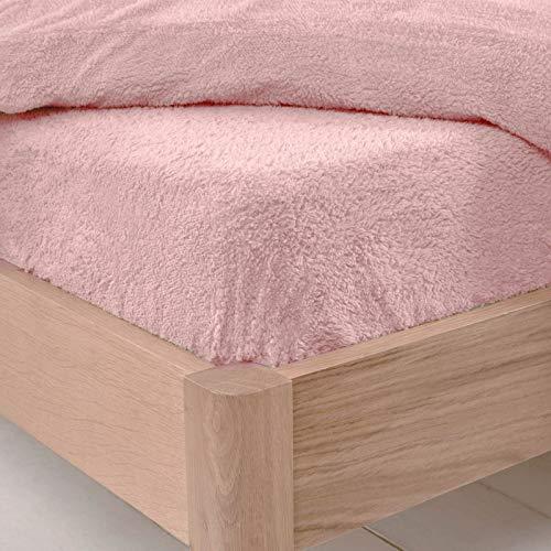 Brentfords Teddy Fleece Hoeslakens Thermo Warm Soft Luxus pluizig knuffelig behaaglijk beddengoed Blush Pink - King Size