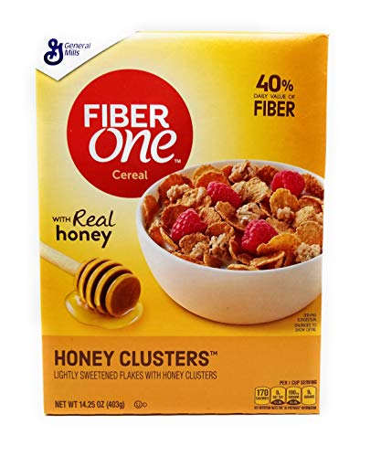 powerful Fiber One Honey Cluster with 14.25 oz lightly sweetened flakes.  3 packs.