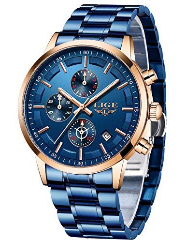 LIGE Relojes Hombre Masculino Acero Inoxidable Impermeable Analógico de Cuarzo Hombres Reloj Lujo Cronógrafo Todo Azul Relojes Hombre Caballeros Vestir