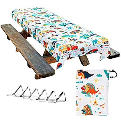 Jolly Camper Picnic Tablecloth, Camping Tablecloth. Washable & Reusable. Spill & Stain Resistant. Water Repellent. Fits 4ft to 8ft tables. Easy to Clean Table Cloth.Camping Tablecloth for Picnic Table by Jolly Camper