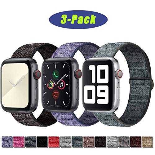 SSEIHI Kompatibel mit Apple Watch Armband 38mm 40mm,Soft Sport Loop Leichter Atmungsaktiver Nylon Armband Für die iWatch Serie 5/4/3/2/1, Sport+, Edition,Black/Gray/Blue