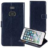 TienJueShi Dark Blue Book Stand Retro Business Flip Leather